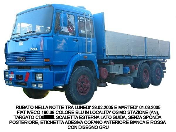 FIAT IVECO 190.38 Colore BLU, rubato nella notte tra il 28/02/2005 e